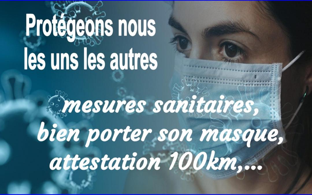 Informations// mesures sanitaires//attestation 100 km…