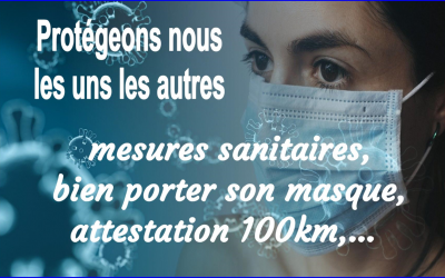 Informations// mesures sanitaires//attestation 100 km…