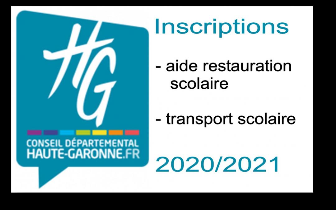 Conseil Départemental Inscriptions 2020-2021