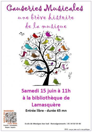 Ecole de Musique Causeries musicales Lamasquère 15 juin 2019